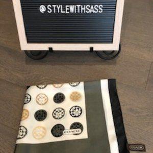 Coach 100% Silk Scarf Black/Gold/Olive Green OS